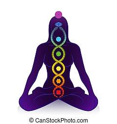 símbolo, kundalini, chakras, despertar, serpiente, mujer, ...