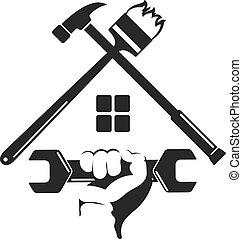 símbolo, lar repara, com, um, ferramenta