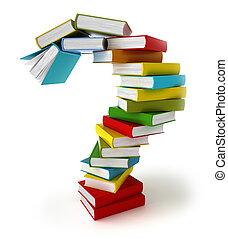 símbolo, libros, pregunta, coloreado