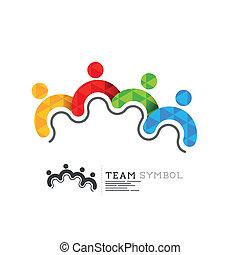 símbolo, liderança, conectado, equipe