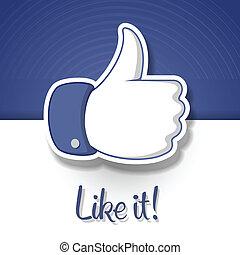 símbolo, like/thumbs, cima, ícone