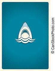 símbolo, logo., azul, ilustración, vector, tiburón, mandíbulas