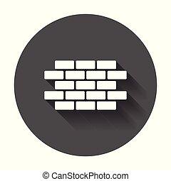 símbolo, longo, shadow., ícone, style., parede, apartamento, tijolo, ilustração