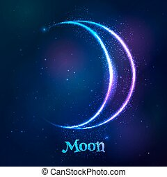 símbolo, luna, azul, zodíaco, neón, brillar