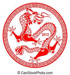 símbolo, lunar, dragão