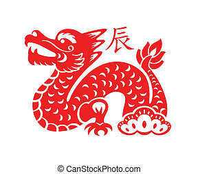 símbolo, lunar, dragón