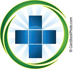 símbolo médico, ícone, logotipo, vetorial