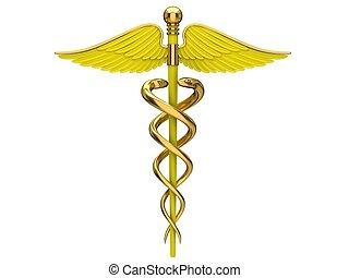 símbolo, médico, amarillo, caduceo