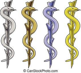 símbolo médico, -, barra, de, asclepius