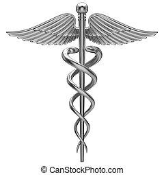 símbolo, médico, caduceo, plata