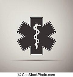 símbolo médico, de, el, emergencia, -, estrella, de, vida, icon.