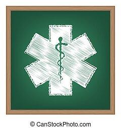 símbolo médico, de, el, emergencia, -, estrella, de, vida, -, icono, aislado, blanco, fondo., vector.