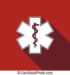 símbolo médico, de, el, emergencia, -, estrella, de, vida, icono, con, largo, shadow.