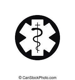 símbolo médico, de, el, emergency., estrella, de, life.