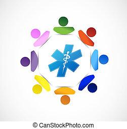 símbolo médico, gente, diversidad, concepto