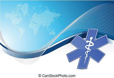 símbolo médico, onda azul, fundo