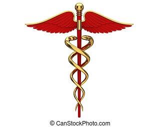 símbolo, médico, rojo, caduceo