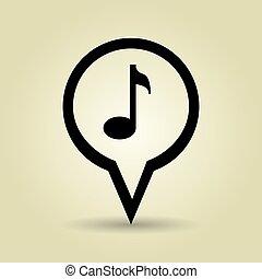 símbolo música, desenho, isolado, ícone