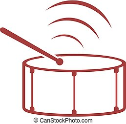símbolo música, tambor, vermelho