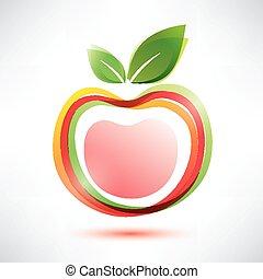 símbolo, maçã, vermelho