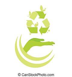 símbolo, mano, palma, logotipo, reciclar, verde, abierto,...
