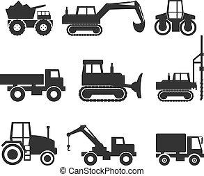 símbolo, maquinaria construção, ícone, gráficos
