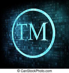 símbolo marca registrada, ligado, digital, tela