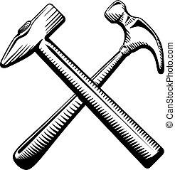símbolo, martillos cruzados, dos
