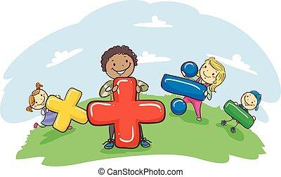 símbolo matemático, niños, palo, tenencia