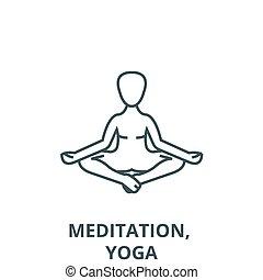 símbolo, meditação, postura, esboço, linear, conceito, vetorial, ioga, sinal, linha, loto, ícone