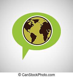 símbolo, meio ambiente, globo, gráfico