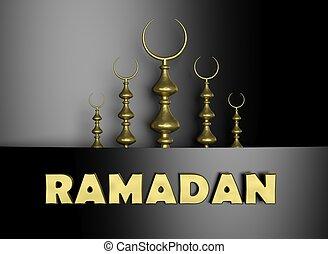 símbolo, metade, ramadan, fundo, lua