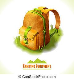 símbolo, mochila, acampamento