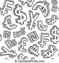 símbolo moneda, seamless, plano de fondo
