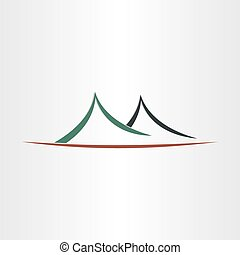 símbolo, montañas, resumen, icono, paisaje