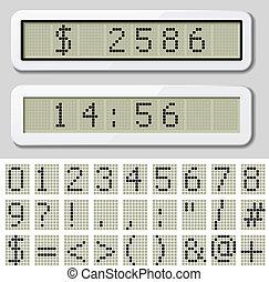 símbolo, -, número, exhibición, lcd, vector, caracteres,...