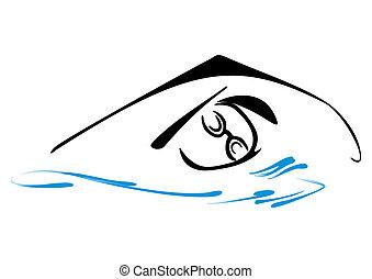 símbolo, natação