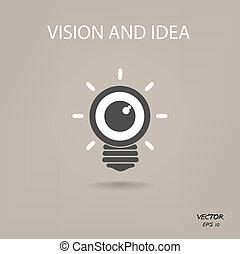 símbolo, negócio, ícone, visão, idéias, sinal, bulbo leve, ...