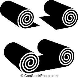 símbolo, negro, rollo, cualquier cosa