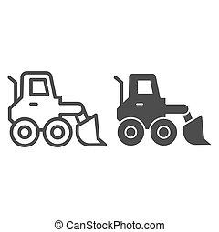 símbolo, neve, carregador, icon., sinal, arado, design., graphics., teia, vetorial, construção, linha, estilo, móvel, esboço, veículo, pictograma, soprador, gelo, caminhão, sólido, experiência., raspador, branca, conceito