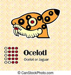 símbolo, ocelotl, aztec