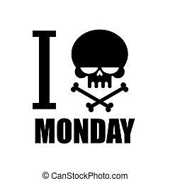 símbolo, odio, cruzado, negro, emblema, cráneo, monday., odio, huesos, crossbones, t-shirt.