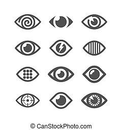 símbolo, ojo, iconos