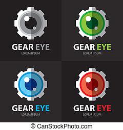 símbolo, olho, engrenagem, ícone