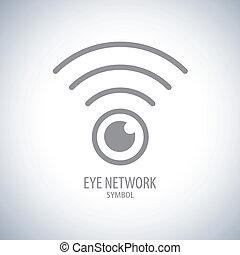símbolo, olho, rede, ícone