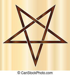 símbolo, om, branded, madeira, pentacle, antiga