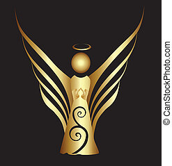 símbolo, ornamento, ángel, oro