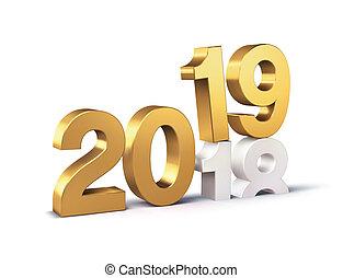símbolo, oro, año, nuevo, 2019, principio