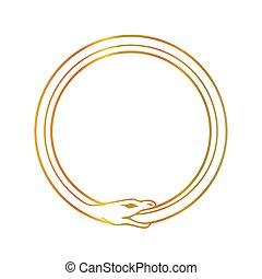 símbolo, ouroboros, cobra, ingerindo, snake-, próprio