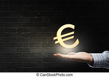 símbolo, palma, euro